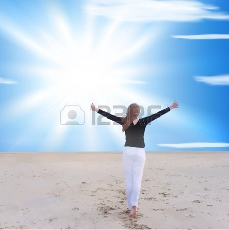14317469-energetic-and-satisfied-woman-on-the-beach